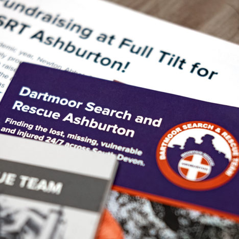 A selection of advertising material for Mountain Rescue team Dartmoor Sear and Rescue Ashburto