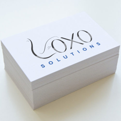Loxo Solutions branding mark logo design on business cards