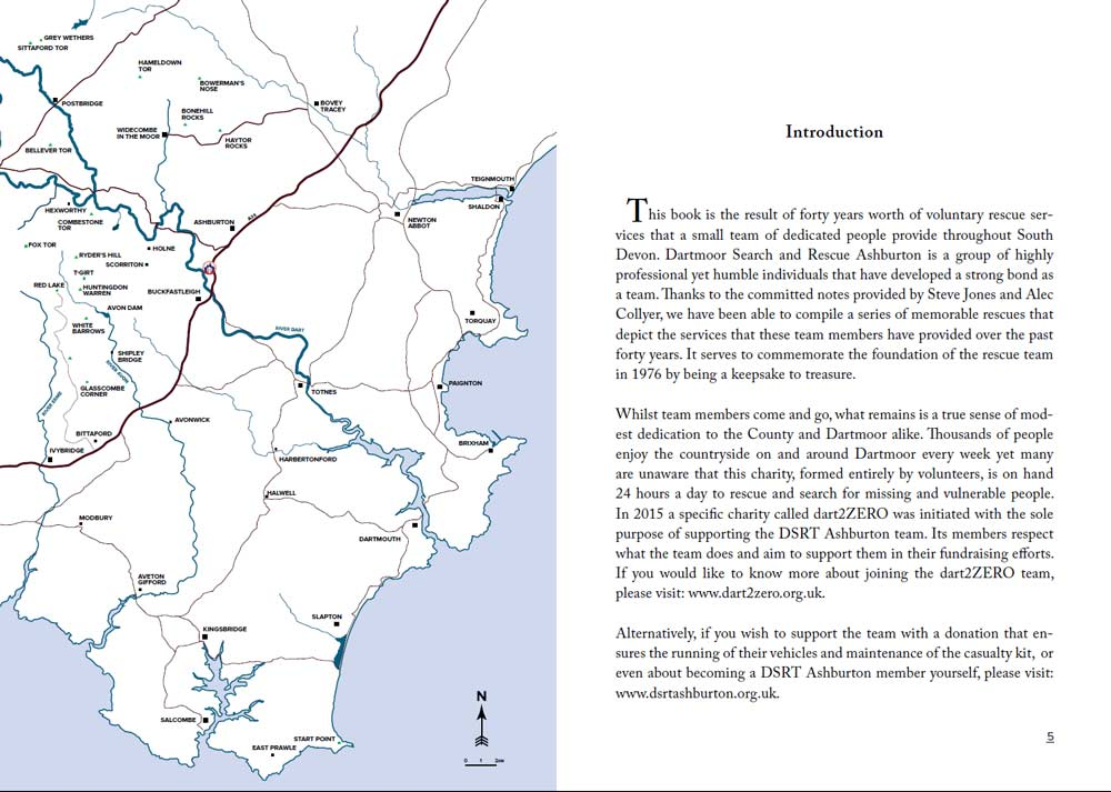 A snippet from the book I edited for Dartmoor search and Rescue Ashburton showing a graphic designed map