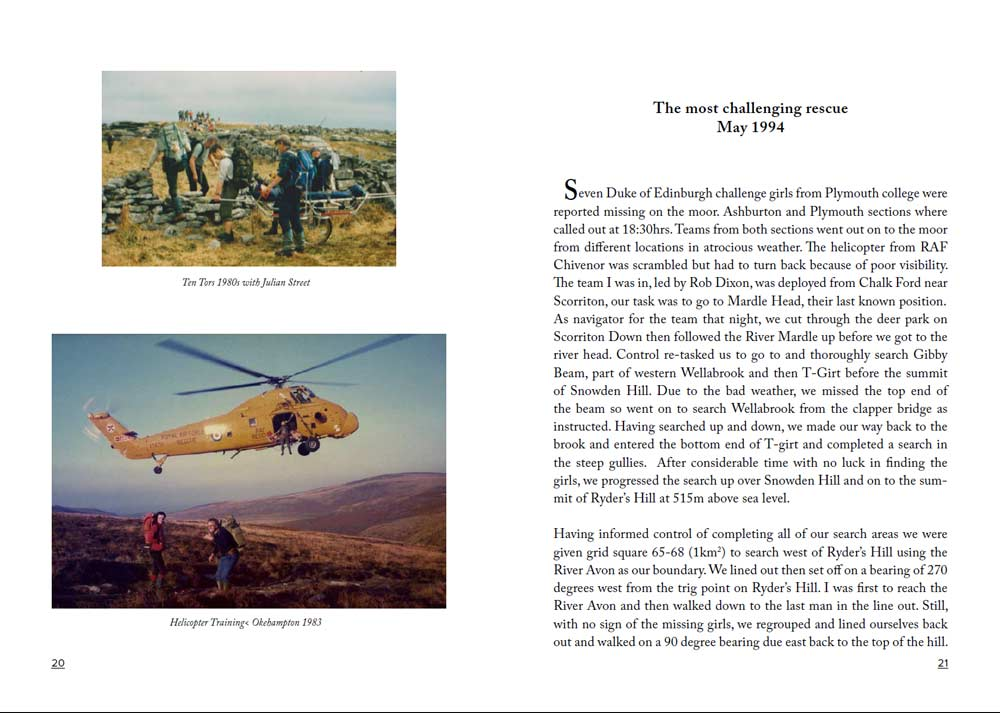 A snippet from the book I edited for Dartmoor search and Rescue Ashburton showing some old photographs