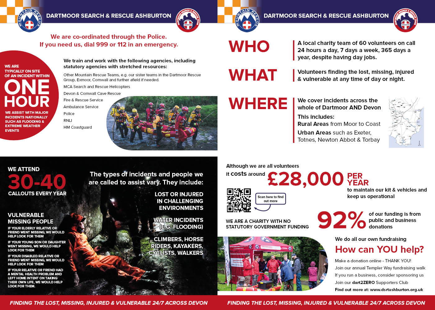 Graphic design poster boards for DSRT Ashburton Mountain Rescue team to help fundraising