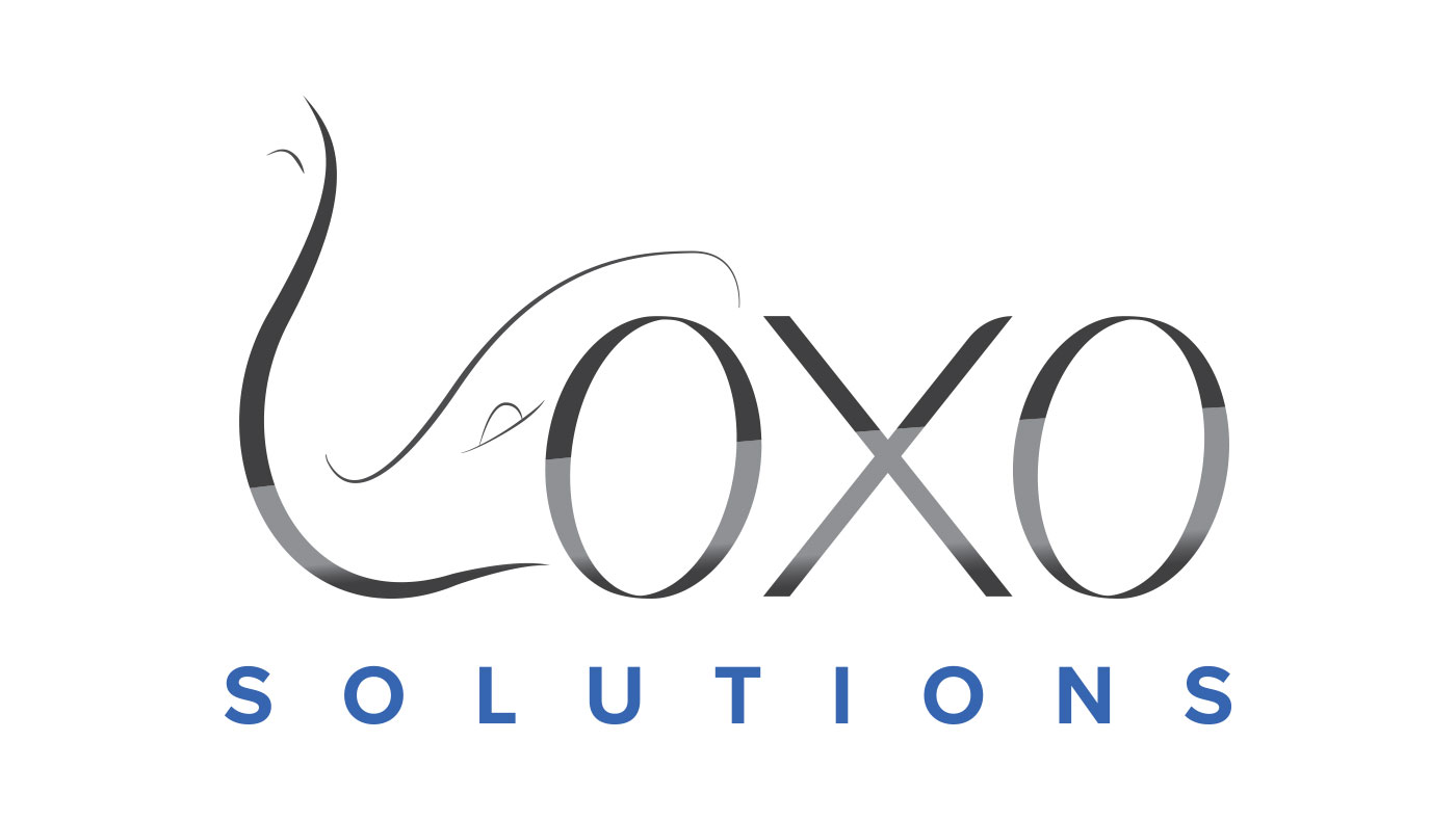 Loxo Solutions Logo Design with grey gradient and elephant icon