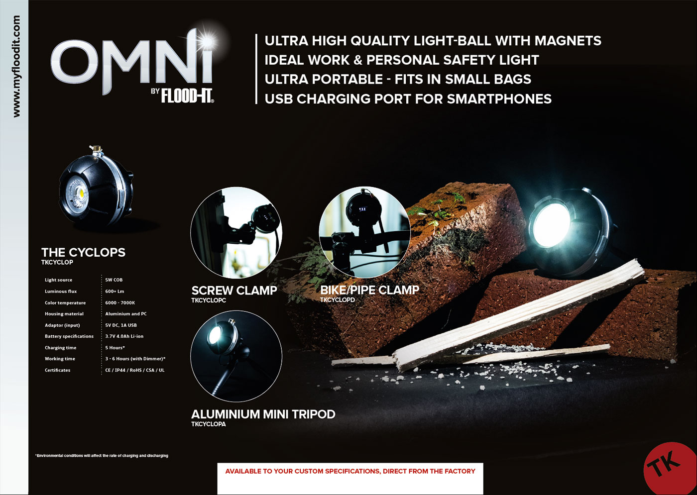 Omni LED mini floodlight torch by FLOOD-IT, graphic designed brochure