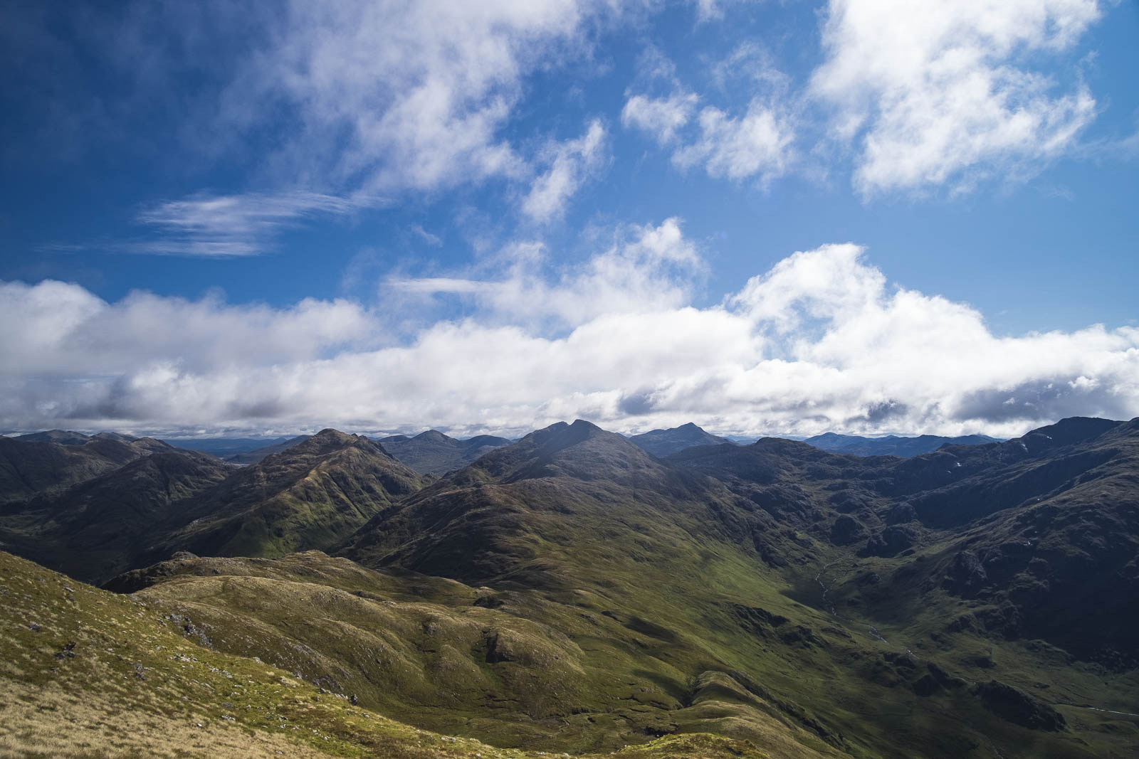 Landscape photograph View from Ladhar Bheinn, Larven, in the sun, sunny weather Knoydart, Scotland, UK