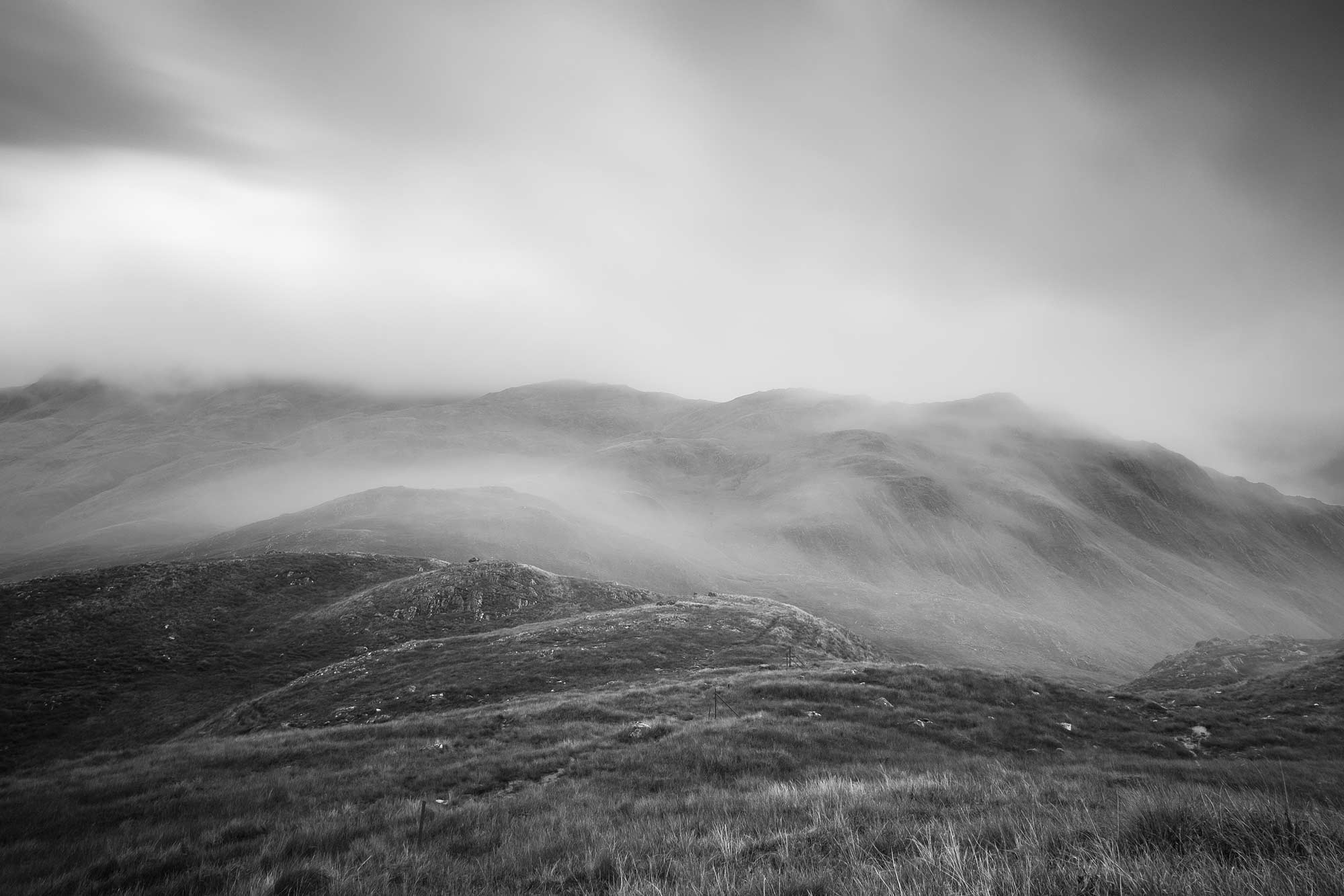 Dramatic black and white landscape photograph Mam Barrisdale, Knoydart, Scotland