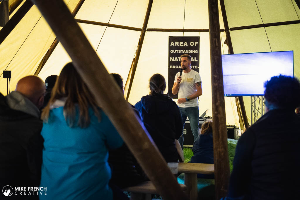 Ben Smith from the 401 Challenge giving a talk at the Top of the Gorge festival