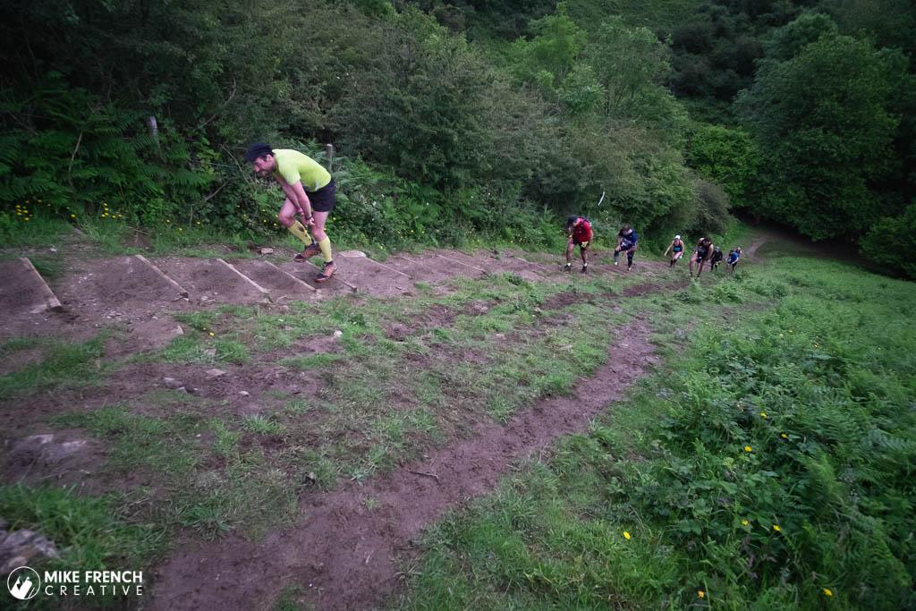 A runner panting for breath up Hells Steps on the Mendips near Black Rock, Velvet Bottom