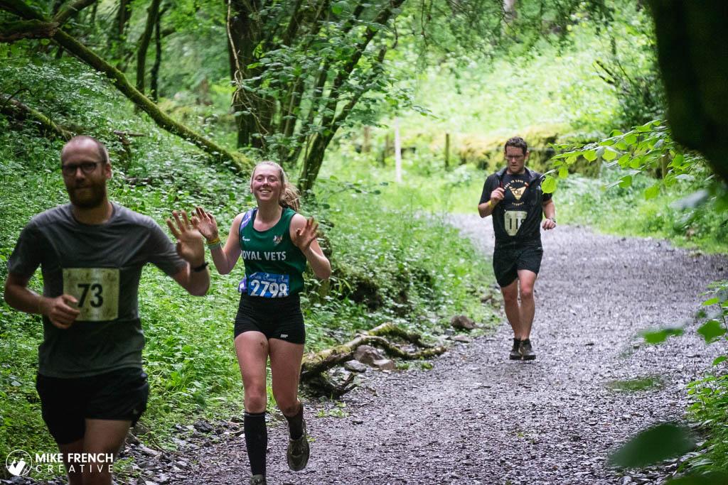 Happy runners at in Velvet Bottom on the Mendips near Cheddar Gorge