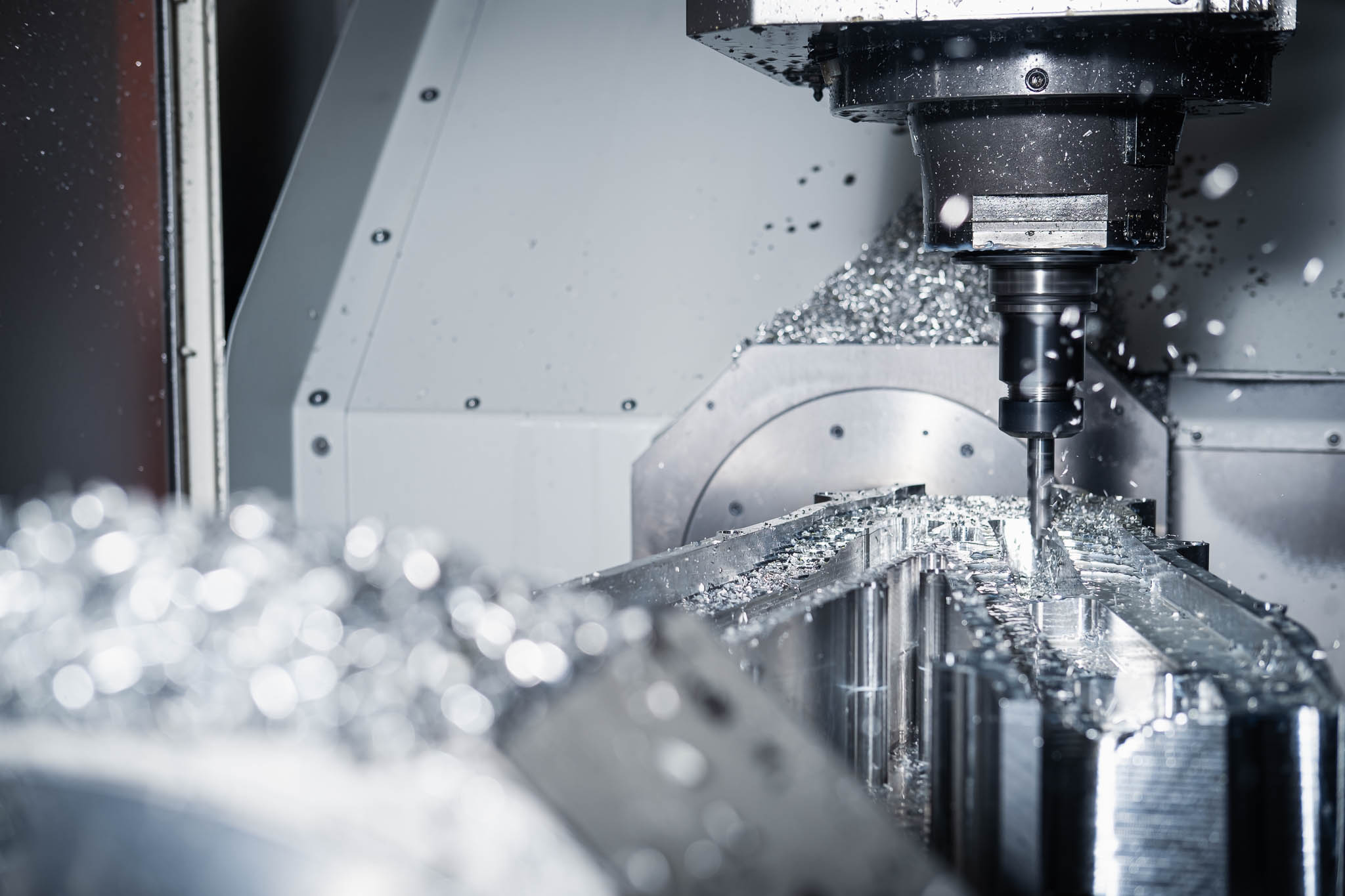 CNC Machining Clevedon Bristol AIM Ltd photo close up with swarf