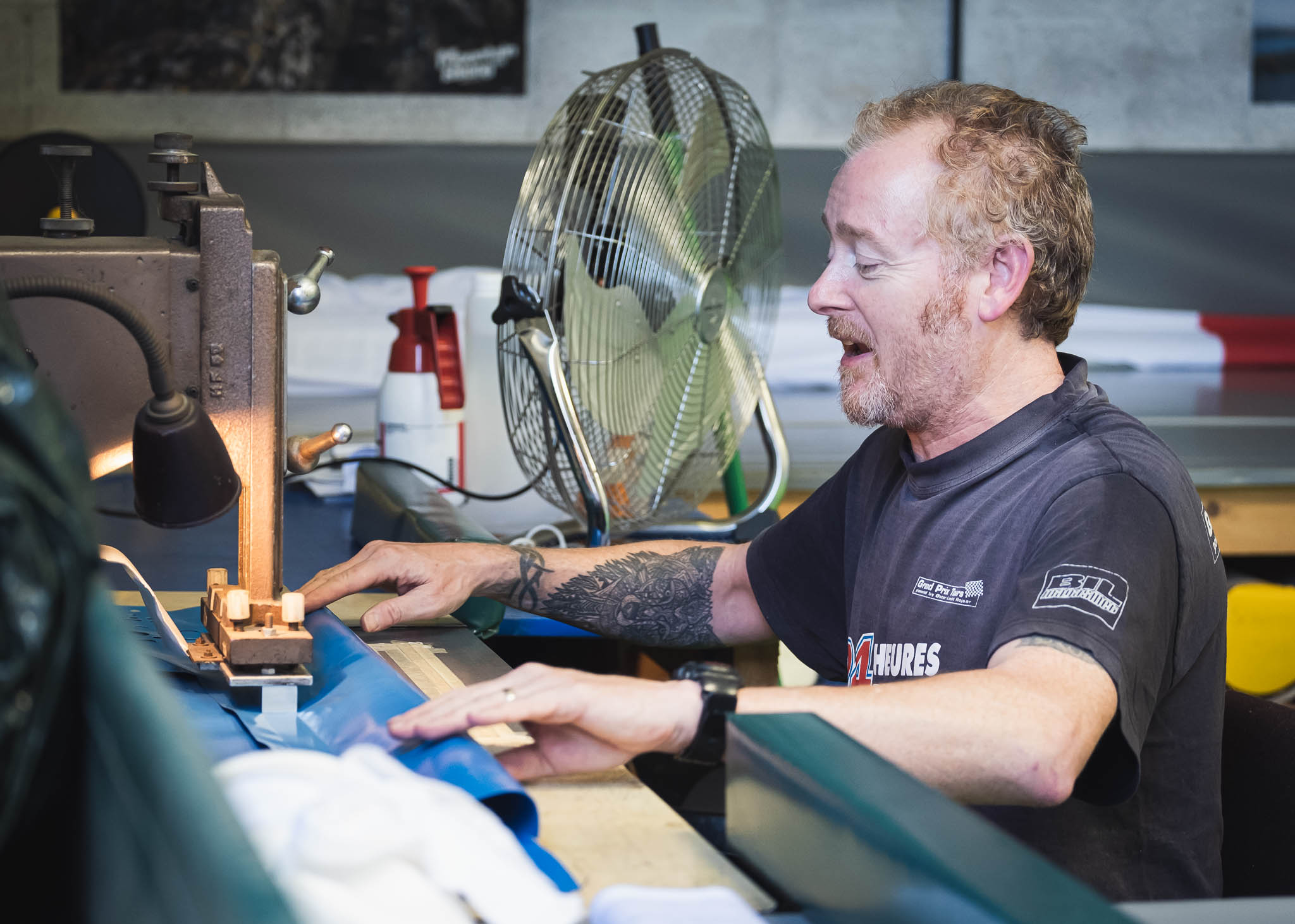 Colin Puckle from Fabricworks in Cheddar using a heat welder