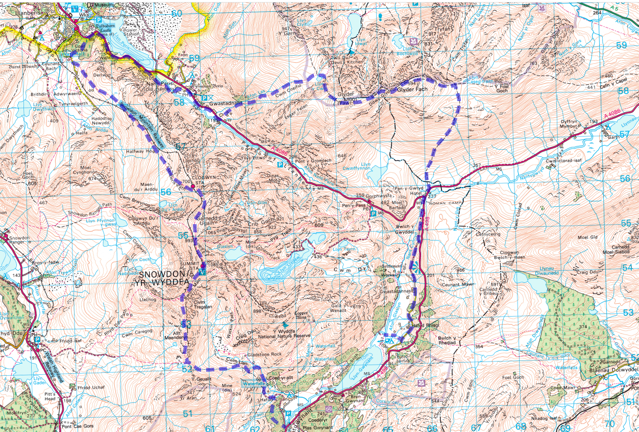 A Map of Snowdonia showing a 3 day backpacking route