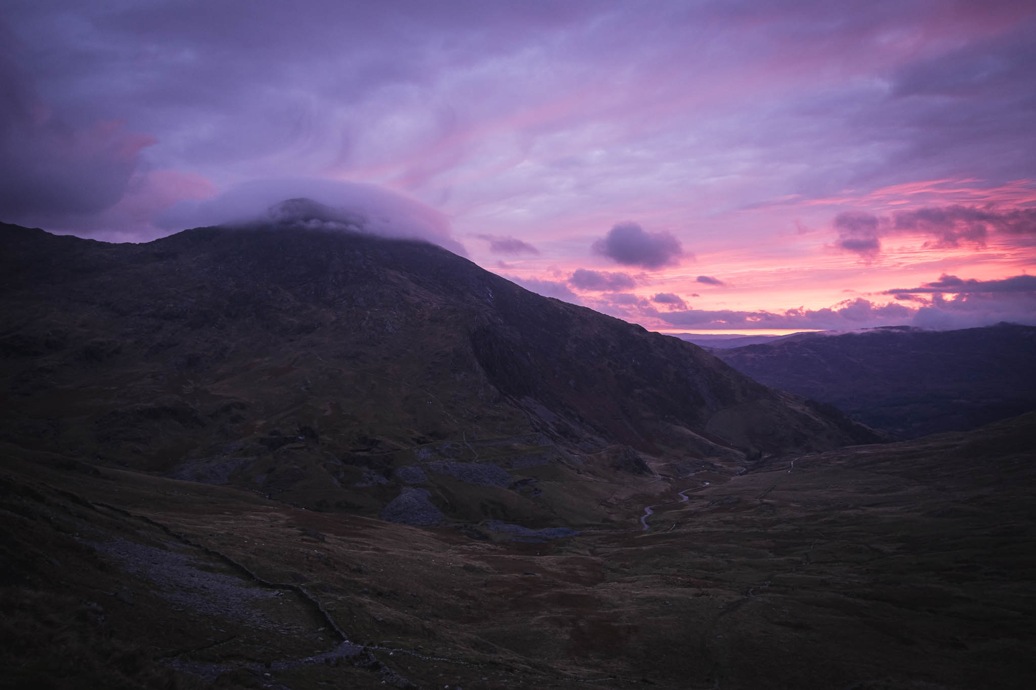 Sunrise behind Craig Ddu