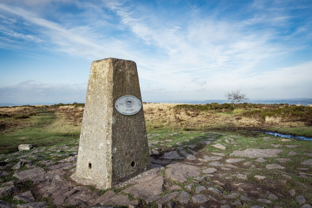 The Trig point on Beacon Batch in the Mendips
