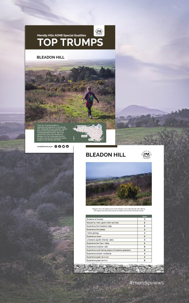 Documentary Photography of Hellenge Hill in Bleadon on some Mendip Hills Top Trumps Cards