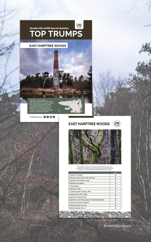 Documentary Photography of East Harptree Woods Chimney on some Mendip Hills Top Trumps Cards