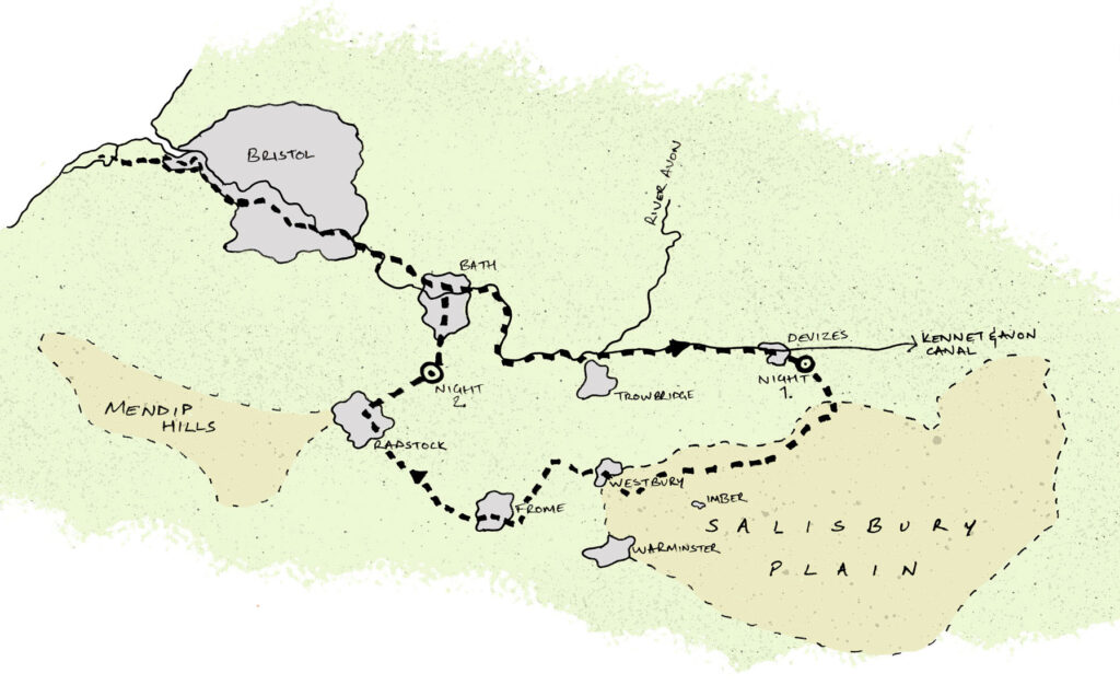 A good bikepacking route map from Bristol to Salisbury Plain in Wiltshire