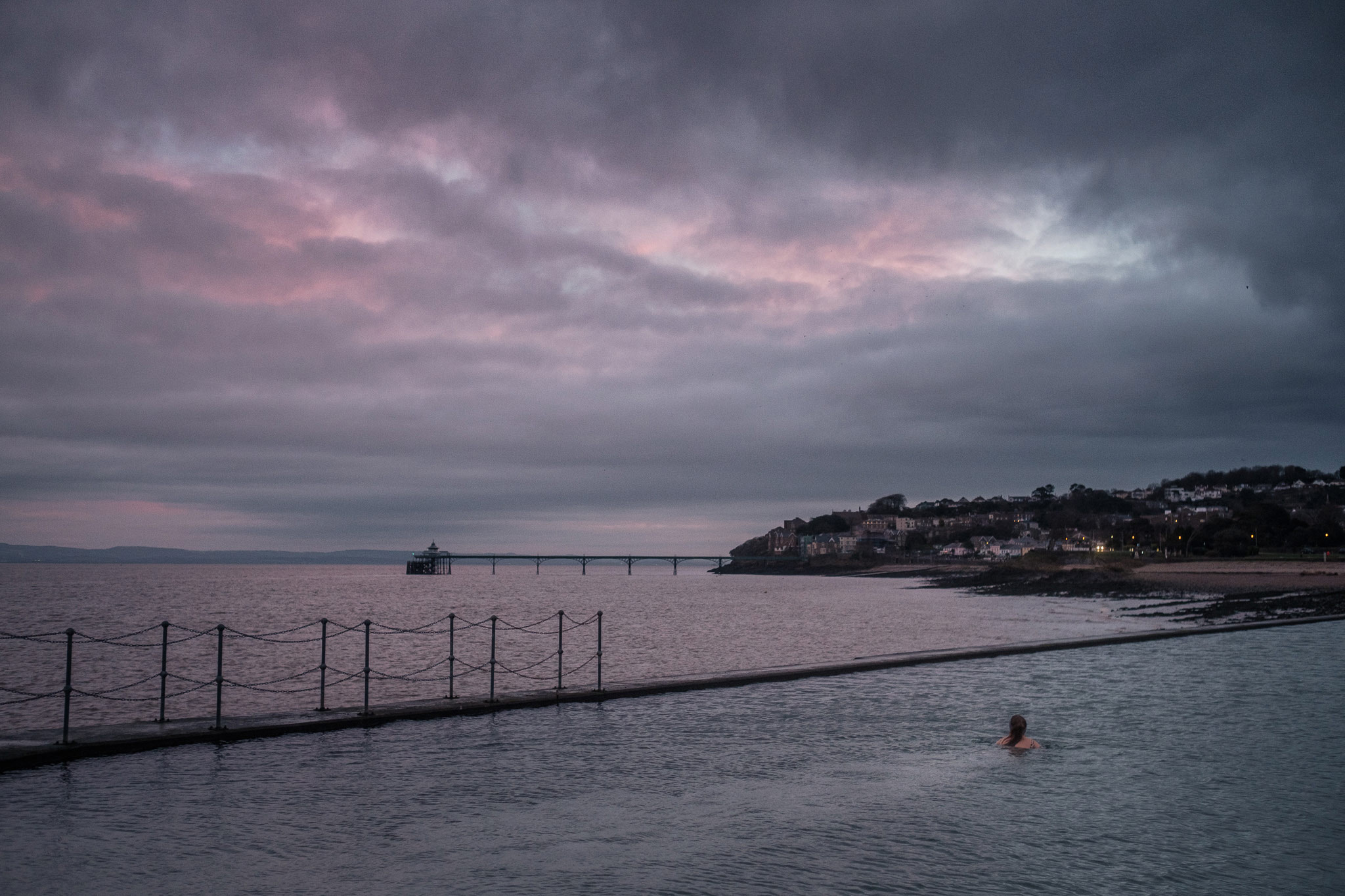 Lauren Holt Swimming in Clevedon Marine Lake everyday in January